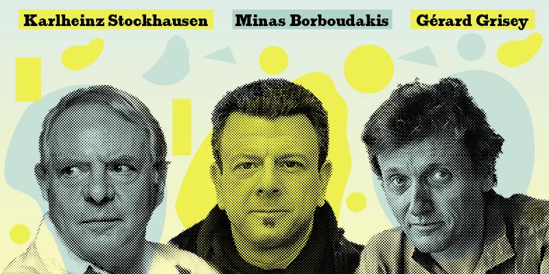 Karlheinz Stockhausen, Minas Borboudakis, Gérard Grisey © LMN Berlin