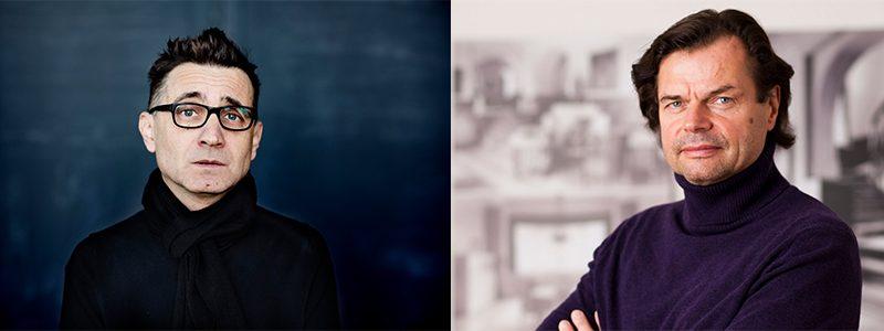 Links: Mark Andre (c) Astrid Ackermann. Rechts: Dieter Mersch (c) Bauhaus Universität Weimar
