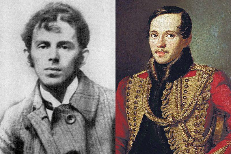 Ossip Mandelstam (links, Fotograf unbekannt). Mikhail Lermontov (Ausschnitt aus einem Gemälde von Petr Zabolotskiy).