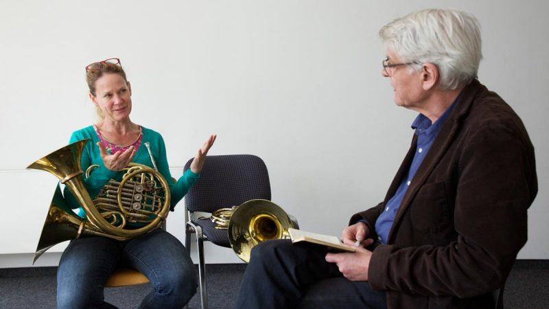 Christine Chapman, Ensemble Musikfarbik, und Georges Aperghis (c) Klaus Rudolph